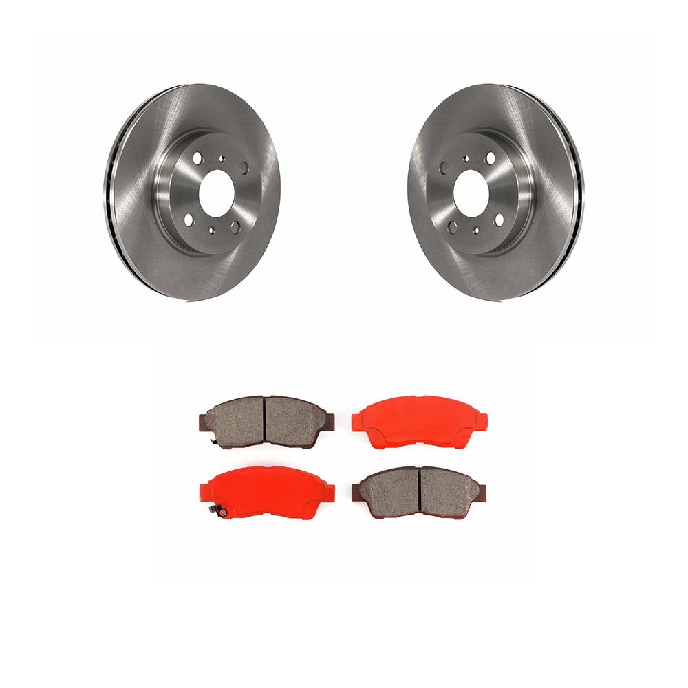 Ceramic Brake Pads For 2002 Subaru Legacy Front eLine Plain Brake Rotors