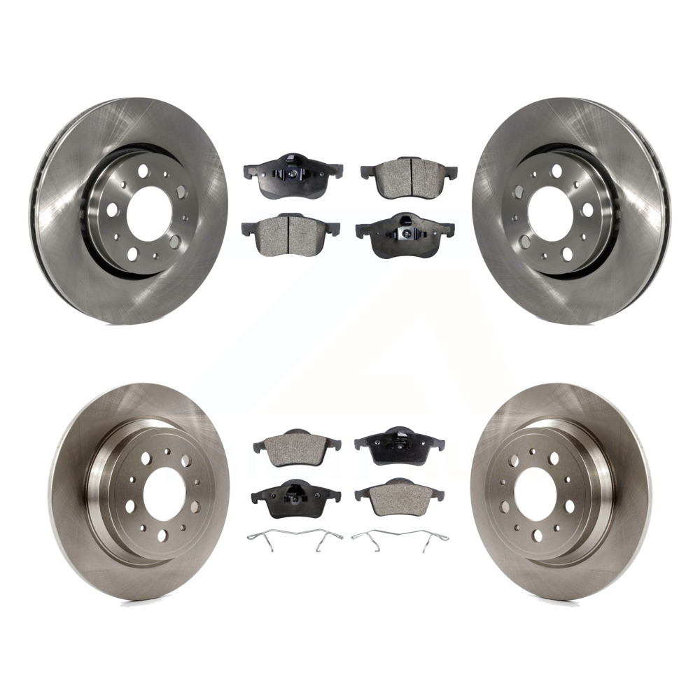 Front Rear Coated Disc Rotors /& Semi-Metallic Brake Pads Fits Volvo XC60