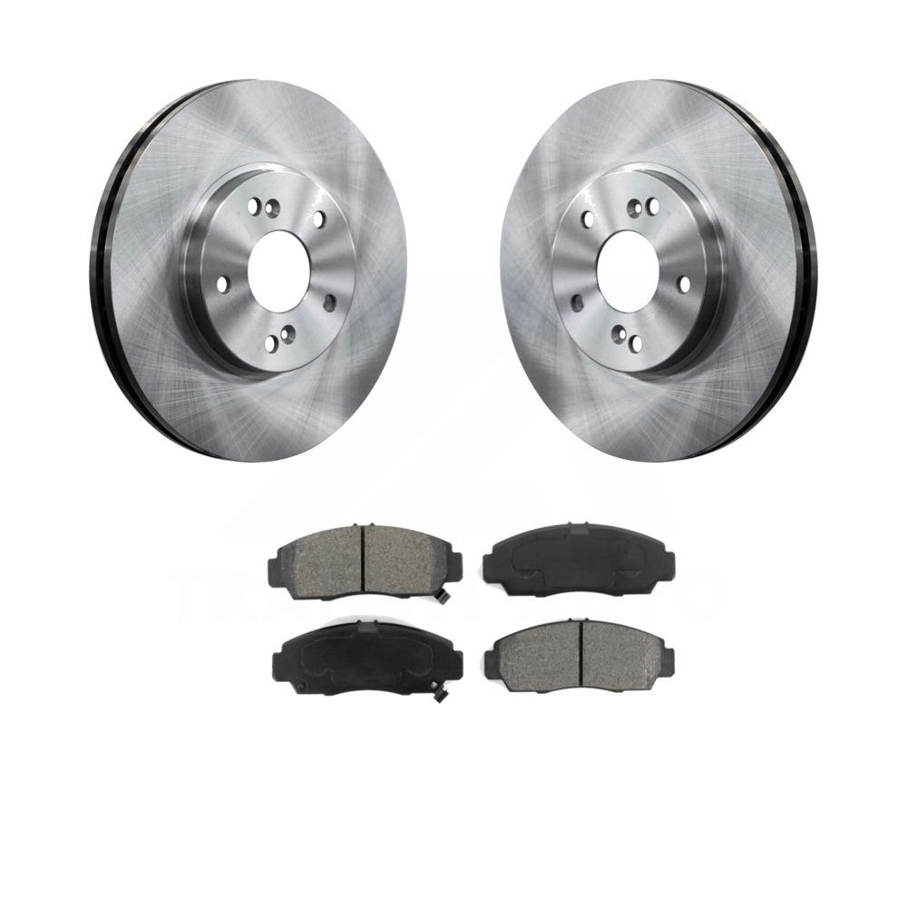 Front Disc Brake Rotors And Semi-Metallic Pads Kit Honda