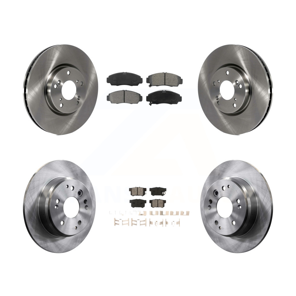 Front Rear Disc Brake Rotors And Semi-Metallic Pads Kit