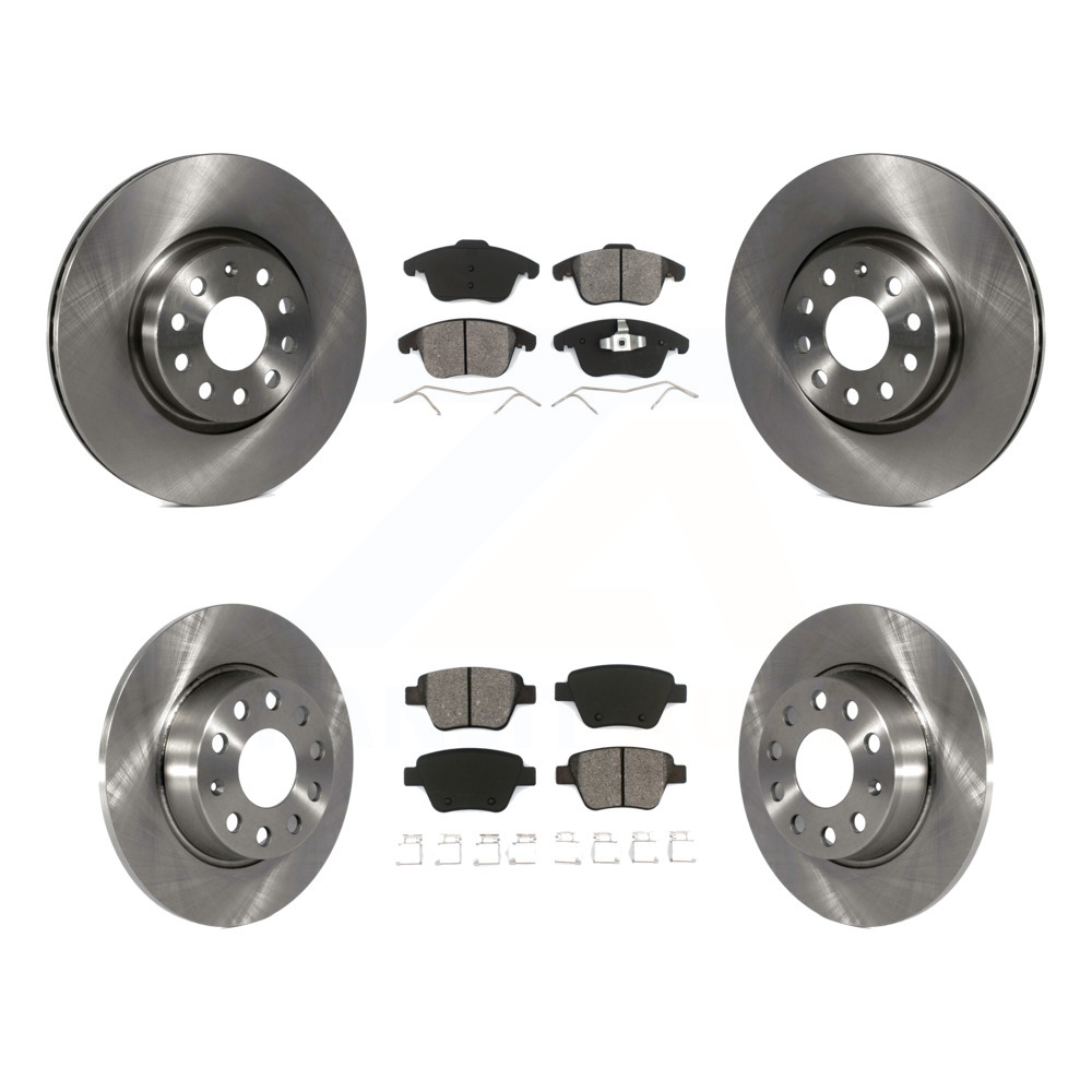 For Volkswagen Passat Front Rear  Drill Slot Brake Rotors+Semi-Met Brake Pads