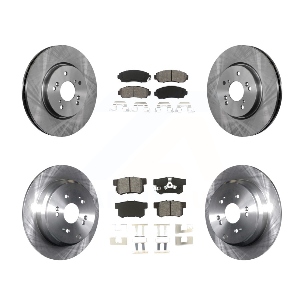 Front Rear Disc Brake Rotors And Semi-Metallic Pads Kit
