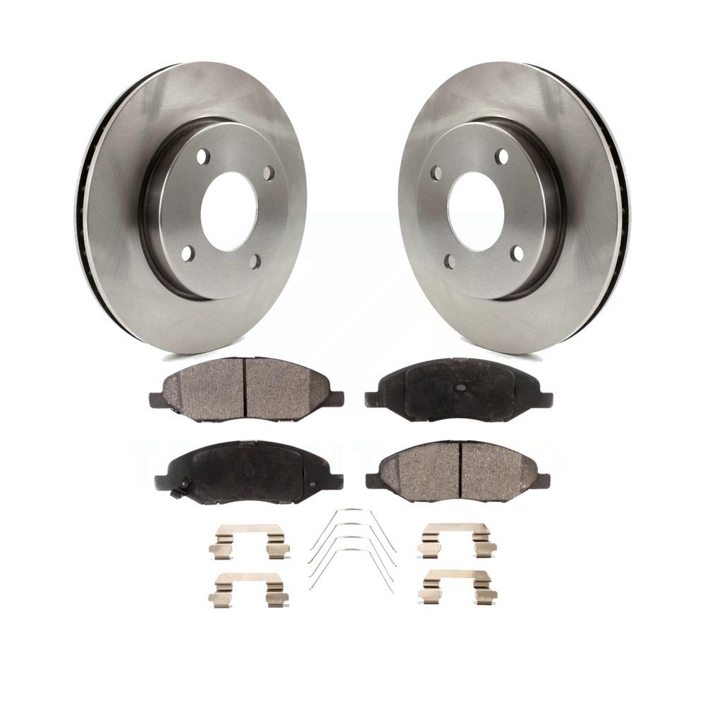 For 2012-2013 Nissan Versa Front eLine Black Drilled Brake Rotors+Ceramic Pads