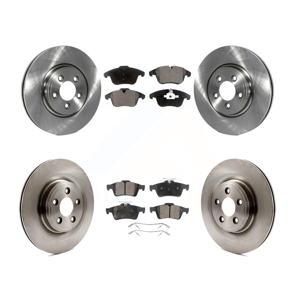 Vanden Plas Front Drill Slot Brake Rotors+Ceramic Pads Fits Jaguar S-Type XJ8