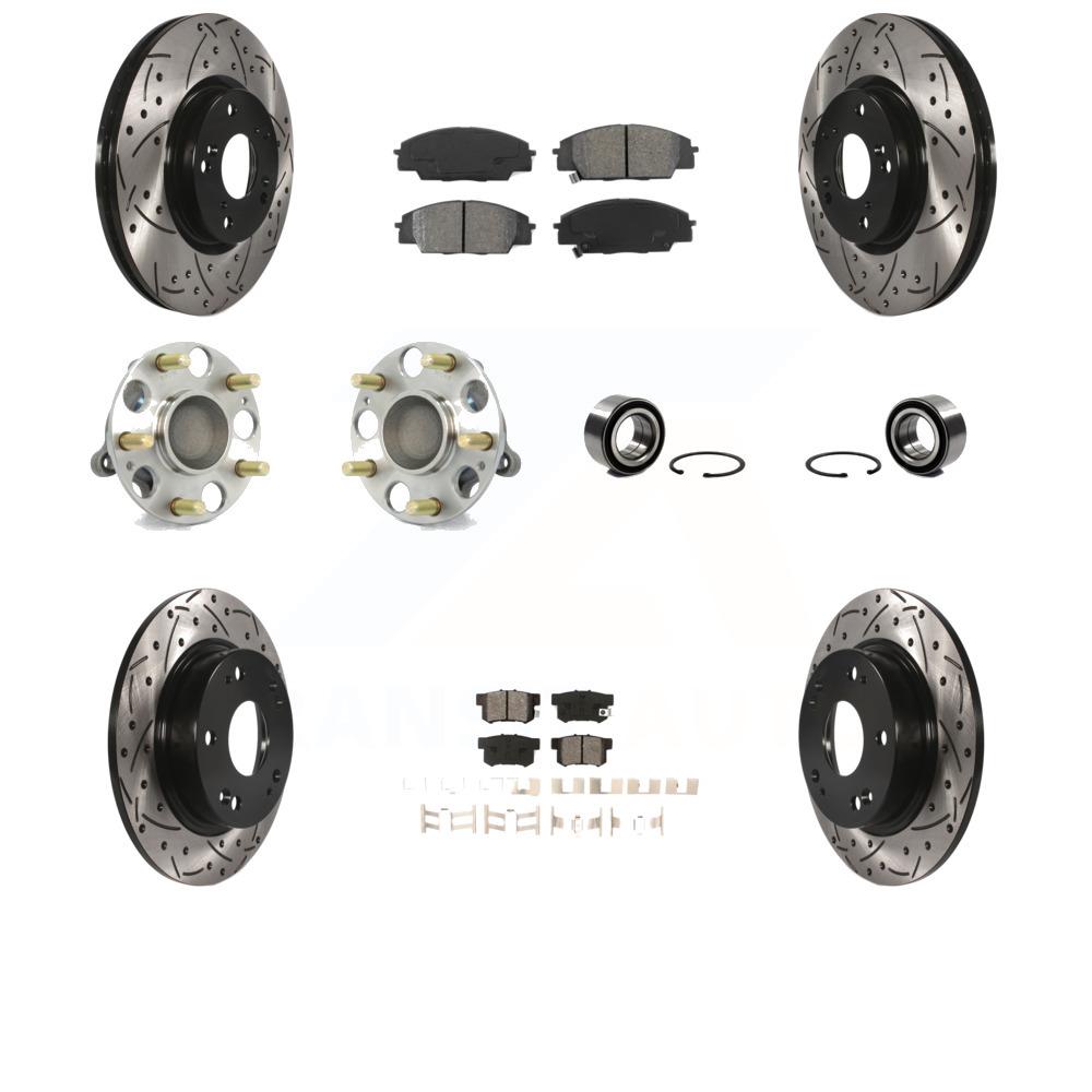 Front Rear Disc Brake Rotors And Semi-Metallic Pads Kit For Honda Civic Acura ILX