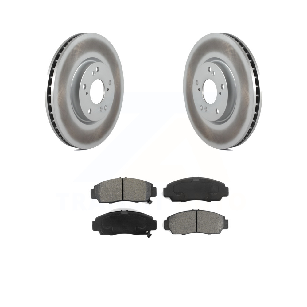 Front Coated Disc Brake Rotors And Semi-Metallic Pads Kit
