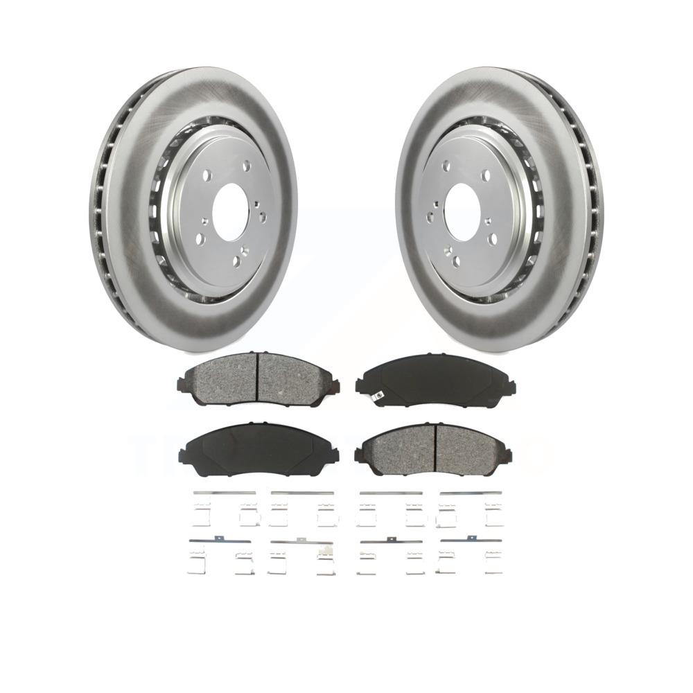 Front Coated Disc Brake Rotors And Semi-Metallic Pads Kit