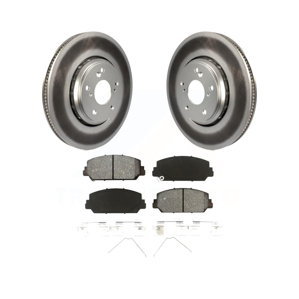 Front Coated Disc Brake Rotor Semi-Metallic Pad Kit Honda