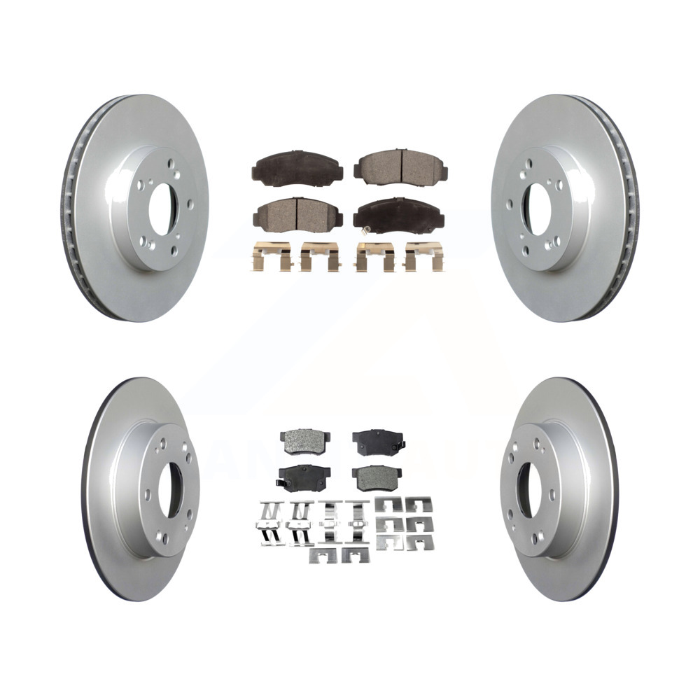 Front Rear Coated Disc Brake Rotors And Ceramic Pads Kit