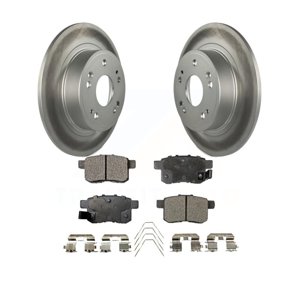 Rear Coated Disc Brake Rotors And Ceramic Pads Kit Honda